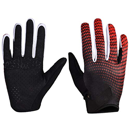 High song Men's And Women's Gloves Full Finger Touch Screen Road Mountain Bike Gloves Breathable Non-slip Mountain Bike Gloves (Color : Red, Size : L large)