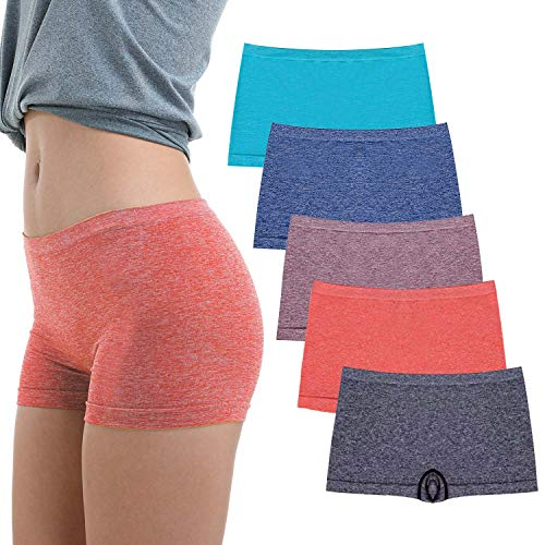 R RUXIA Women's Boyshort Panties Seamless Nylon Underwear Stretch Boxer Briefs 5 Pack M …