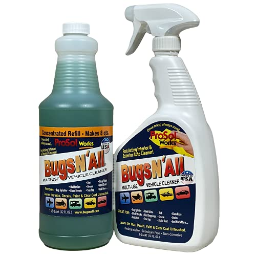 Bugsplatter N All 1qt. Concentrate Makes 8 Quarts. Multi-Surface Vehicle Cleaner / Bug Splatter and Black Streak Remover. Includes an EMPTY 1 Qt. Spray Bottle - Leaves the Wax, Clear Coat, Paint, & Decals.