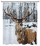 Winter Schnee Elch Duschvorhang Schneeflocke Wald Bäume Wildlife Tier Rentier Duschvorhang für Badezimmer Dekoration Set mit Haken 72x72 Zoll wasserdichtes Polyestergewebe