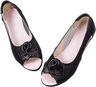 [WOOYOO] レディースサンダル ウェッジ ペタンコ 女の子 大きいサイズ 葉 オープントゥ 婦人靴 サマー 涼しい ローカット スリッポン オフィスシューズ 立ち仕事 カジュアル 走れる 痛くない ブラック