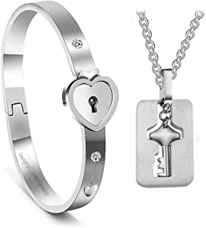 Jewelgenics Men's and Women's Heart Lock and Square Key Stainless Steel Cubic Zirconia Couple Bracelet Pendant Necklace Se...
