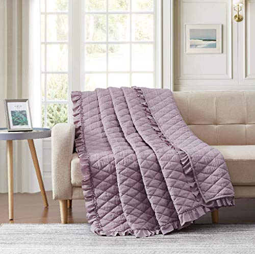 BOURINA Quilted Throw Blanket with Ruffles Pre-Washed Microfiber Ultra Soft Cozy Lightweight for Couch Bed Sofa blanket, Purple 152×203cm