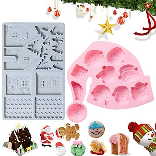 Christmas Molde de Gorro navideño 3D Molde de Silicona para Molde de Mousse Postre Pastel DIY J Decoración de Tartas, Gelatina, Caramelo, Chocolate, Jabón 2pcs