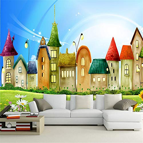 XZDXR Papier peint 3D papier peint rouleau gaufré non-tissé de bande dessinée maison Bright couleur Mural enfants papier peint décor mural TV canapé toile de fond, 110 * 280CM