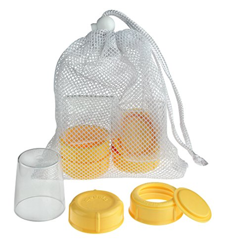 Peças sobressalentes Medela para garrafas de leite materno, tampas extras, tampas, coleiras e discos, inclui bolsa de malha conveniente para facilitar a lavagem, peças de reposição de garrafas feitas sem BPA