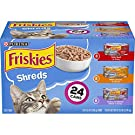 Purina Friskies Gravy Wet Cat Food Variety Pack, Shreds Beef, Chicken and Turkey & Cheese Dinner - (24) 5.5 oz. Cans