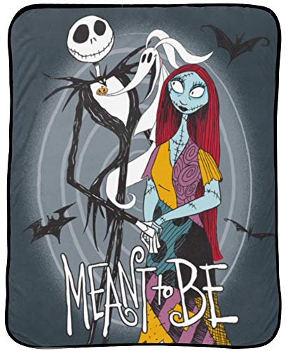 Disney Nightmare Before Christmas Moonlight Madness Throw - Measures 46 x 60 inches, Kids Bedding Features Jack Skellington & Sally - Fade Resistant Super Soft Fleece - (Official Disney Product)