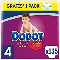 Dodot Activity Pants Pañal-Braguita Talla 4, 135 Pañales, 9-15kg + Dodot Aqua Pure Toallitas para bebé, 1 Pack de 48 Toallitas Gratis