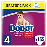 Dodot Pañales Bebé Activity Pants Talla 4 (9-15 kg), 135 Pañales + 1 Pack de 48 Toallitas Dodot Aqua Pure de Regalo