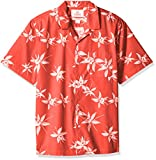 Amazon Brand - 28 Palms Men's Relaxed-Fit 100% Cotton Tropical Hawaiian Shirt, Red/White Floral, X-Large