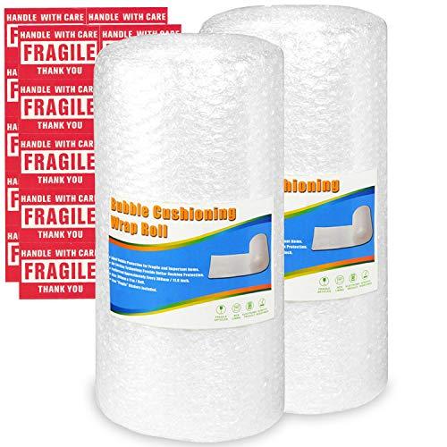 Pobuu 2 rouleaux papier à bulles, bulles d'air film à bulles pour déménagement et emballage, 300 mm x 11 m/rouleau, perforés tous les 30 cm, 20 autocollants fragiles inclus, blanc