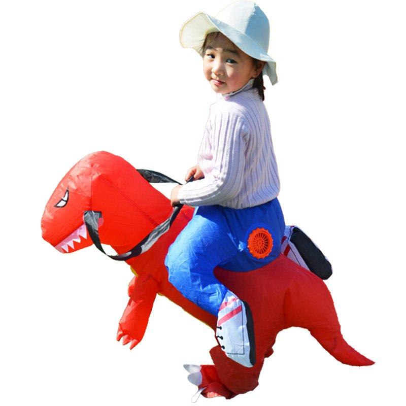 美亚爆款 儿童版2-6岁 恐龙充气服装 红色 儿童玩具服装可以骑行抖音同款热门网红霸王龙坐骑 自动充气(需自配4节5号电池)由于快递原因,新疆、西藏不能发货,麻烦不要下单,谢谢