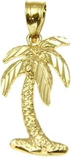 Arthur's Jewelry 14K Solid Yellow Gold Medium Diamond Cut Hawaiian Island Palm Tree Charm Pendant