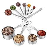 Measuring Cups & Messlöffel mit Meßlineal Set (11 PCS), Apicallife Edelstahl Messbecher Messlöffel Für Trockene und Flüssige Zutaten, Silber