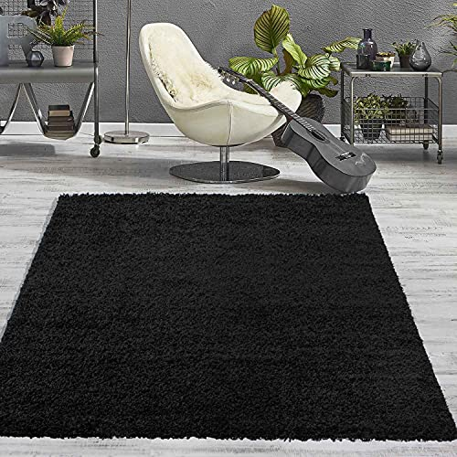 VIMODA Prime Shaggy Teppich Schwarz Hochflor Langflor Teppiche Modern, Maße:70x140 cm