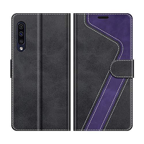 MOBESV Handyhülle für Samsung Galaxy A50 Hülle Leder, Samsung Galaxy A50 Klapphülle Handytasche Hülle für Samsung Galaxy A50 Handy Hüllen, Schwarz/Violett