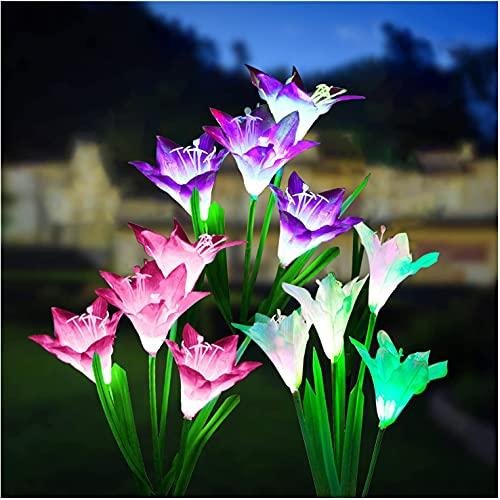 Solarleuchten Garten,3 Stück Solarlampen für Außen Garten,Solarleuchten für Außen mit 7 Farbwechsel LED Lampen Weihnachtsdeko,Lilien Blumen Solarlicht für Gartendekoration Solar Gartenleuchte