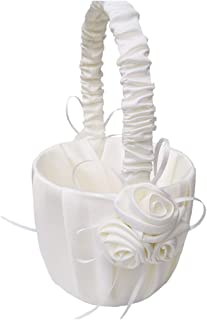 BOZLIZ - Girl Basket - Flower Girl Basket Sea Five Star Wedding Collection Traditional White - Ring Pillow Royal Gold Bearer Wedding Ivory Basket Rose Blue White Flower Baskets Girl Purple Sets