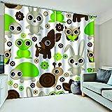 WAFJJ Cortinas Animales de Dibujos Animados 3D realistas del diseño,Sala de Estar Dormitorio Cortinas Ventana Set de Dos Paños