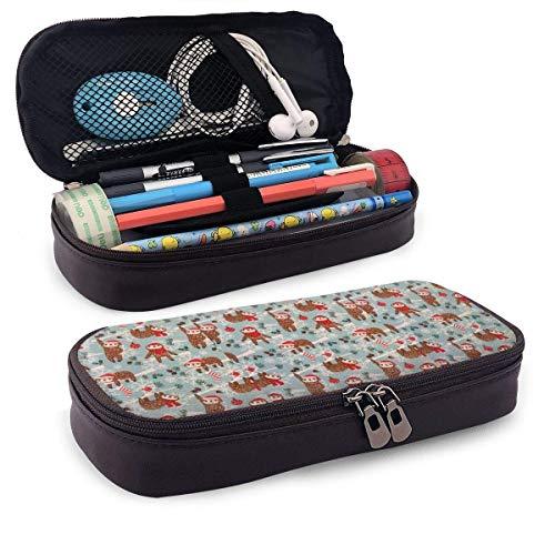 Bruin Behang Lederen Potlood Case Draagbare Reizen Cosmetische Tas voor School & Kantoor