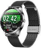 Reloj inteligente Reloj Inteligente Hombres Deportes Fitness Tracker Personalizado Diales IP68 Impermeable Frecuencia Cardíaca Monitoreo Llamadas Recordatorio Smartwatch-negro acero