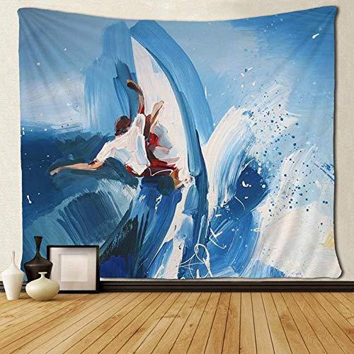 QIAO Art Tapestry Mantel Colcha Hombre surfeando en la Ola Azul Tapices Exotic Fantasy Eco-Friendly d¡§ Cor Wall Hanging Throw Mantel
