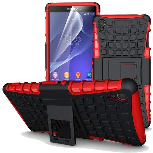 betterfon | Outdoor Handy Tasche Hybrid Hülle Schutz Hülle Panzer TPU Silikon Hard Cover Bumper für Sony Xperia Z3 Rot