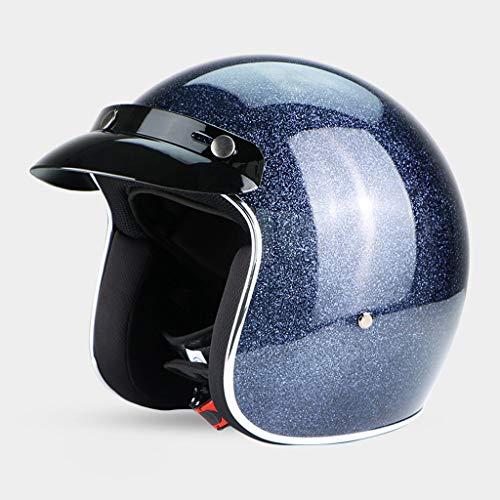 NJ Helm- Retro-helm, half bedekt motorfiets, mannen en vrouwen, seizoenen, winter, windproof zonnescherm Medium grijs