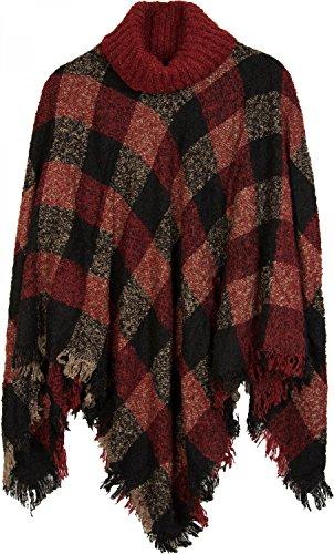 styleBREAKER Strick Poncho mit Karo Tweed Muster und Rollkragen, Fransen, Damen 08010036, Farbe:Schwarz-Rot-Beige