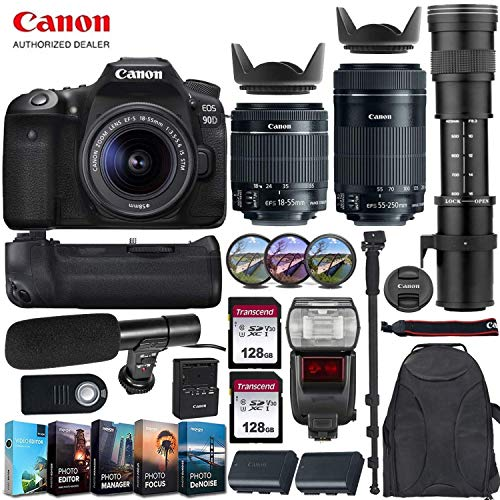 Canon EOS 90D DSLR Camera with Canon 18-55mm STM Lens + Canon 55-250mm STM