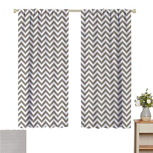 """Blackout Curtain Panels for Living Room Chevron,Grey and White Zig Zag Lined Striped Pattern Modern Design Artistic Print,Warm Taupe White,Decorative Curtains For Living Room and bedroom 42""""W x 54""""L"""