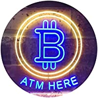 Bitcoin ATM Here Dual Color LED看板 ネオンプレート サイン 標識 青色 + 黄色 400 x 300mm st6s43-i3371-by
