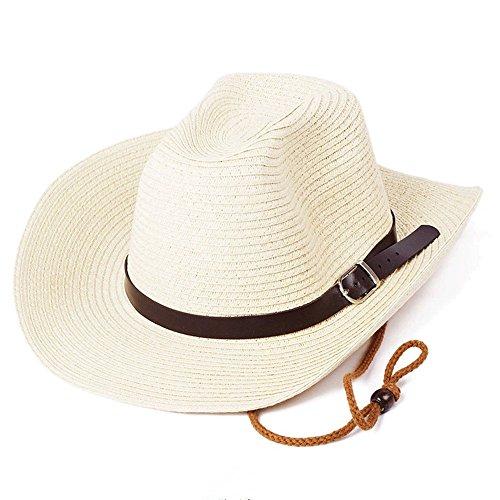 Men Straw Cowboy Hats Panama Outdoor Hat Wide Brim Shapeable Sun Hat (Beige)