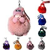 Fox Fur Sleeping Baby Keychain Kawaii Cute Car Key Bag Buckle Wallet - Pom-Pom Bag Purse Charm Pendant Birthday for Women Mom Sister (E)