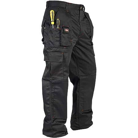 Lee Cooper Mens Cargo Workwear Pant Multi Tool Knee Pad Pocket Trouser Black 30W/29L