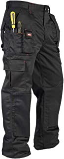 Lee Cooper Mens Cargo Workwear Pant Multi Tool Knee Pad Pocket Trouser Black 34W/33L