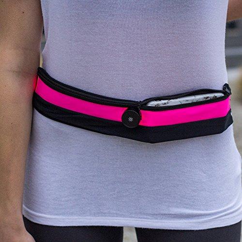 XiRRiX Sport heuptas LED loopgordel - licht op in het donker - met telefoonhoes voor smartphone tot 5,2 inch (13,2 cm) - zwart, roze