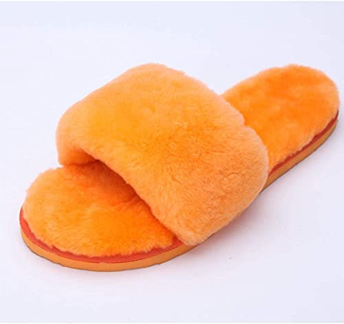 Hausschuhe de casa de lana de piel de oveja Hausschuhe de lana de invierno Hausschuhe de casa de felpa de invierno 2 3 4 5 6 7 8 9 10 11 12 13 14 35 36 37 38 39 ( Farbe   Orange , tamaño   37 )