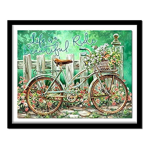 DIY 5D Kit De Pintura De Diamante Por Números Rueda De Bicicleta De Primavera Con Diamantes De Imitación,Para Decoración De La Pared Del Hogar 30 * 40cm
