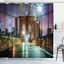 Ambesonne Landscape Shower Curtain, Brooklyn Bridge Pedestrian Walkway Before Sunrise American Landmark Picture, Cloth Fabric Bathroom Decor Set with Hooks, 70