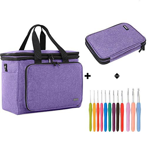 Teamoy Knitting Tote Bag Bundle with 12pCS Ergonomic Crochet Hook Set and Crochet Hook Case, Perfect for Crochet Beginner, Knitting Enthusiasts.