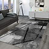 TT Home Alfombra de salón de pelo corto, diseño abstracto industrial, aspecto...
