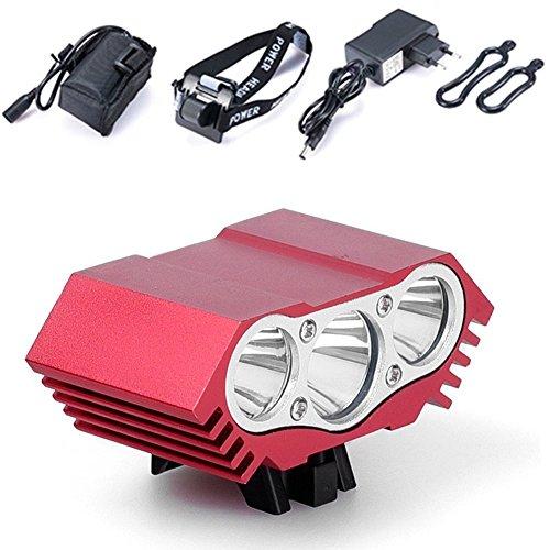 BoFeite Lámpara de la Bici del búho, LED Frontal para Manillar de Bicicleta + Paquete + Cargador de la batería, luz Ligera Que acampa 7500 Lumen 3 LED (Negro)