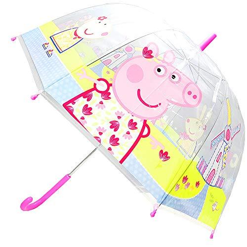 Paraguas Peppa Pig, Paraguas Cúpula Transparente Manual, Paraguas Infantil Niña, Paraguas Burbuja 68cm (Rosa)