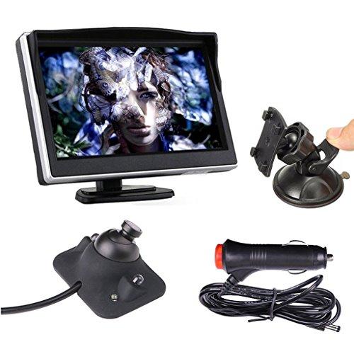 OBEST Cámara Retrovisora, 5 Pulgadas Monitor TFT LCD Camara De Vision Color Sistema De Cámara Retrovisor Visión Trasera Monitor de Coche Trasera Camara de Reserva del Coche