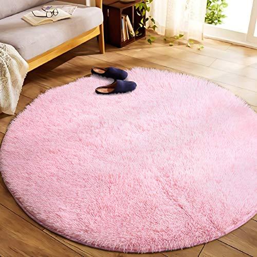 Tappeto da soggiorno ,tappeto in velluto soffice, adatto per tappeto da soggiorno, tappeto lungo e morbido soffice, cuscino rotondo per divano con moquette antiscivolo (Rosa, 140x140 cm)