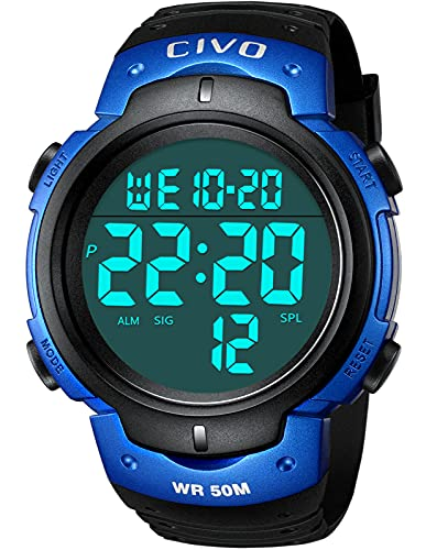 Reloj Hombre,CIVO Reloj Digital para Hombres,Deportivos Impermeable Relojes De Pulsera Multifuncion Esfera Grande LCD Back Light Relojes Digitale