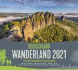 Deutschland Wanderland Kalender 2021, Wandkalender im Querformat (54x48 cm) - Naturkalender mit Routenbeschreibung der Wanderwege für Wanderer