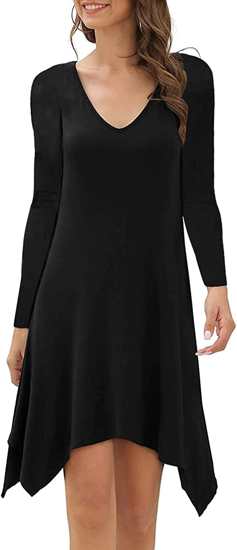 KSHUN Women's Long Sleeve V Neck Casual Loose Flowy Tunic Dress